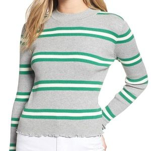 Bp ribbed lettuce edge stripe fitted sweater